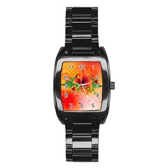 Awesome Red Flowers With Leaves Stainless Steel Barrel Watch by FantasyWorld7