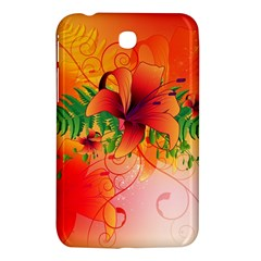 Awesome Red Flowers With Leaves Samsung Galaxy Tab 3 (7 ) P3200 Hardshell Case  by FantasyWorld7
