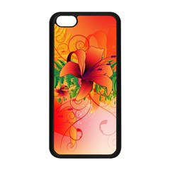 Awesome Red Flowers With Leaves Apple Iphone 5c Seamless Case (black) by FantasyWorld7