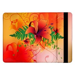 Awesome Red Flowers With Leaves Samsung Galaxy Tab Pro 12 2  Flip Case by FantasyWorld7