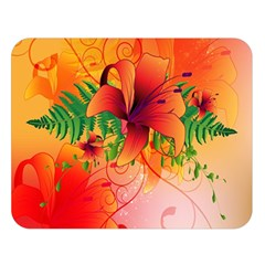 Awesome Red Flowers With Leaves Double Sided Flano Blanket (large)  by FantasyWorld7