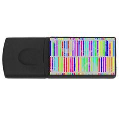 Colorful Vintage Stripes Usb Flash Drive Rectangular (4 Gb) by LalyLauraFLM