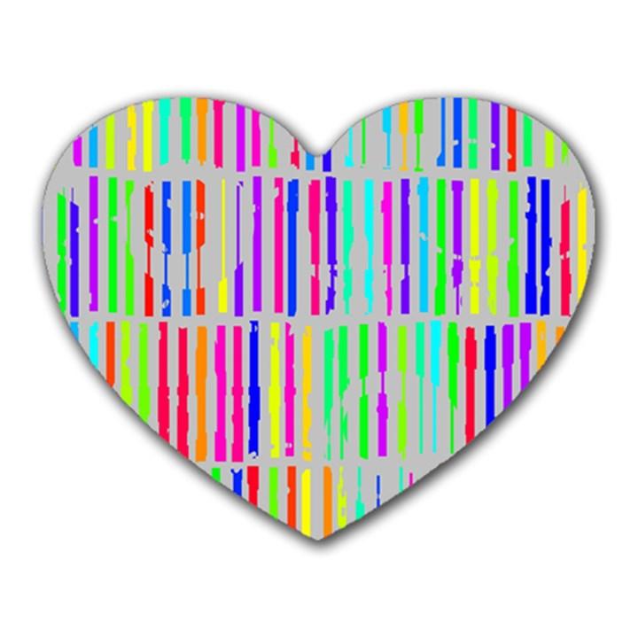 Colorful vintage stripes Heart Mousepad