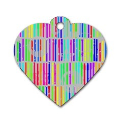 Colorful Vintage Stripes Dog Tag Heart (two Sides) by LalyLauraFLM