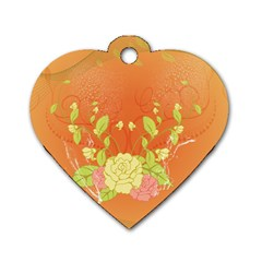 Beautiful Flowers In Soft Colors Dog Tag Heart (two Sides) by FantasyWorld7
