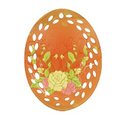 Beautiful Flowers In Soft Colors Oval Filigree Ornament (2 Side)  by FantasyWorld7