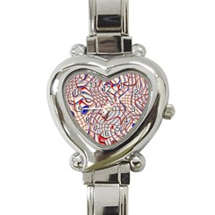 Ribbon Chaos 2 Red Blue Heart Italian Charm Watch by ImpressiveMoments
