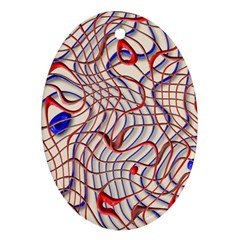 Ribbon Chaos 2 Red Blue Oval Ornament (two Sides) by ImpressiveMoments