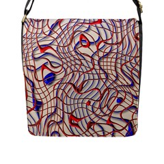Ribbon Chaos 2 Red Blue Flap Messenger Bag (l)  by ImpressiveMoments