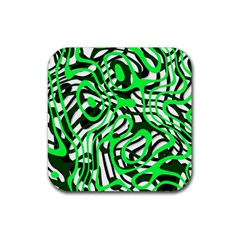 Ribbon Chaos Green Rubber Coaster (Square)  by ImpressiveMoments