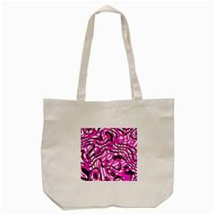 Ribbon Chaos Pink Tote Bag (Cream)  by ImpressiveMoments