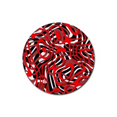 Ribbon Chaos Red Rubber Coaster (Round)  by ImpressiveMoments