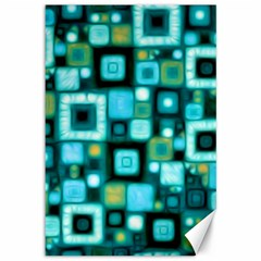 Teal Squares Canvas 12  X 18   by KirstenStar