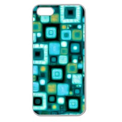 Teal Squares Apple Seamless Iphone 5 Case (clear) by KirstenStar
