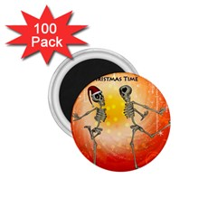 Dancing For Christmas, Funny Skeletons 1 75  Magnets (100 Pack)  by FantasyWorld7
