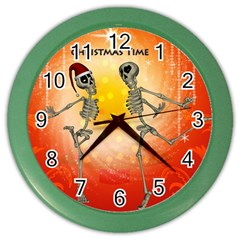 Dancing For Christmas, Funny Skeletons Color Wall Clocks by FantasyWorld7