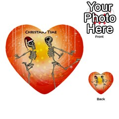 Dancing For Christmas, Funny Skeletons Multi Purpose Cards (heart)  by FantasyWorld7