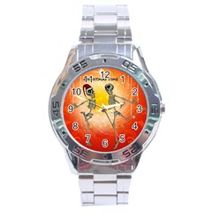Dancing For Christmas, Funny Skeletons Stainless Steel Men s Watch by FantasyWorld7