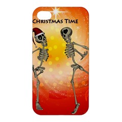 Dancing For Christmas, Funny Skeletons Apple Iphone 4/4s Hardshell Case by FantasyWorld7