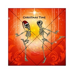 Dancing For Christmas, Funny Skeletons Acrylic Tangram Puzzle (6  X 6 ) by FantasyWorld7