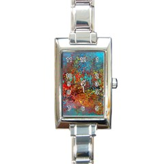 Abstract In Red, Turquoise, And Yellow Rectangle Italian Charm Watches by theunrulyartist