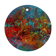 Abstract in Red, Turquoise, and Yellow Ornament (Round)  by theunrulyartist