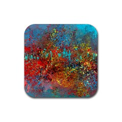 Abstract In Red, Turquoise, And Yellow Rubber Square Coaster (4 Pack)  by theunrulyartist