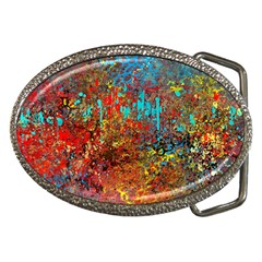 Abstract In Red, Turquoise, And Yellow Belt Buckles by theunrulyartist