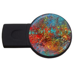 Abstract In Red, Turquoise, And Yellow Usb Flash Drive Round (2 Gb)  by digitaldivadesigns