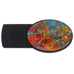 Abstract In Red, Turquoise, And Yellow Usb Flash Drive Oval (2 Gb)  by theunrulyartist