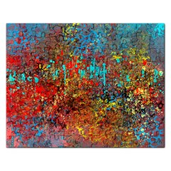 Abstract In Red, Turquoise, And Yellow Rectangular Jigsaw Puzzl