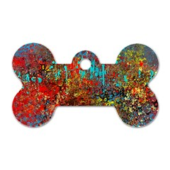 Abstract In Red, Turquoise, And Yellow Dog Tag Bone (two Sides) by theunrulyartist