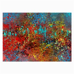 Abstract In Red, Turquoise, And Yellow Large Glasses Cloth by digitaldivadesigns