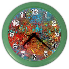 Abstract In Red, Turquoise, And Yellow Color Wall Clocks by digitaldivadesigns