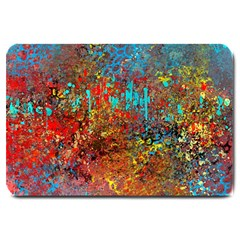 Abstract In Red, Turquoise, And Yellow Large Doormat  by digitaldivadesigns