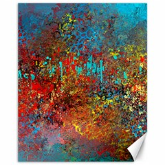 Abstract in Red, Turquoise, and Yellow Canvas 11  x 14   by theunrulyartist