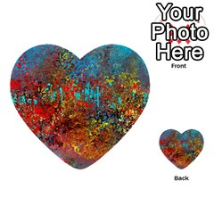 Abstract In Red, Turquoise, And Yellow Multi Purpose Cards (heart)
