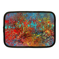 Abstract In Red, Turquoise, And Yellow Netbook Case (medium)  by theunrulyartist
