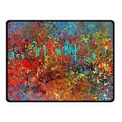 Abstract In Red, Turquoise, And Yellow Fleece Blanket (small) by theunrulyartist