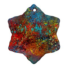Abstract In Red, Turquoise, And Yellow Snowflake Ornament (2 Side) by digitaldivadesigns