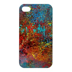 Abstract In Red, Turquoise, And Yellow Apple Iphone 4/4s Hardshell Case by theunrulyartist