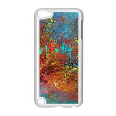 Abstract In Red, Turquoise, And Yellow Apple Ipod Touch 5 Case (white) by theunrulyartist