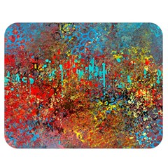Abstract In Red, Turquoise, And Yellow Double Sided Flano Blanket (medium)  by theunrulyartist