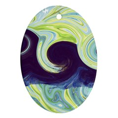 Abstract Ocean Waves Oval Ornament (two Sides) by theunrulyartist