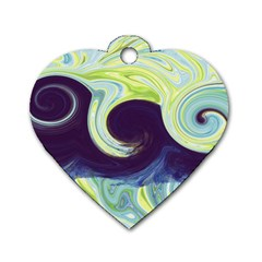 Abstract Ocean Waves Dog Tag Heart (two Sides) by theunrulyartist
