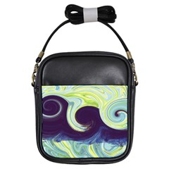 Abstract Ocean Waves Girls Sling Bags by theunrulyartist