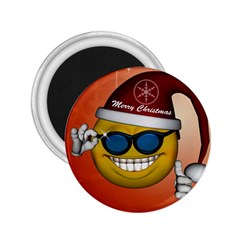 Funny Christmas Smiley With Sunglasses 2 25  Magnets by FantasyWorld7
