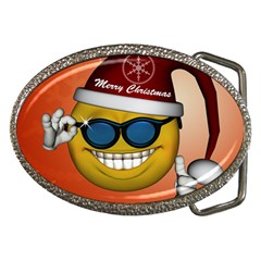 Funny Christmas Smiley With Sunglasses Belt Buckles by FantasyWorld7