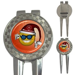 Funny Christmas Smiley With Sunglasses 3 In 1 Golf Divots by FantasyWorld7