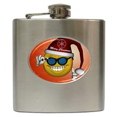 Funny Christmas Smiley With Sunglasses Hip Flask (6 Oz) by FantasyWorld7